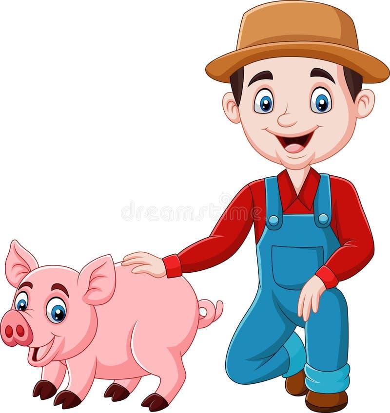 Granjero joven de la historieta con un cerdo libre illustration