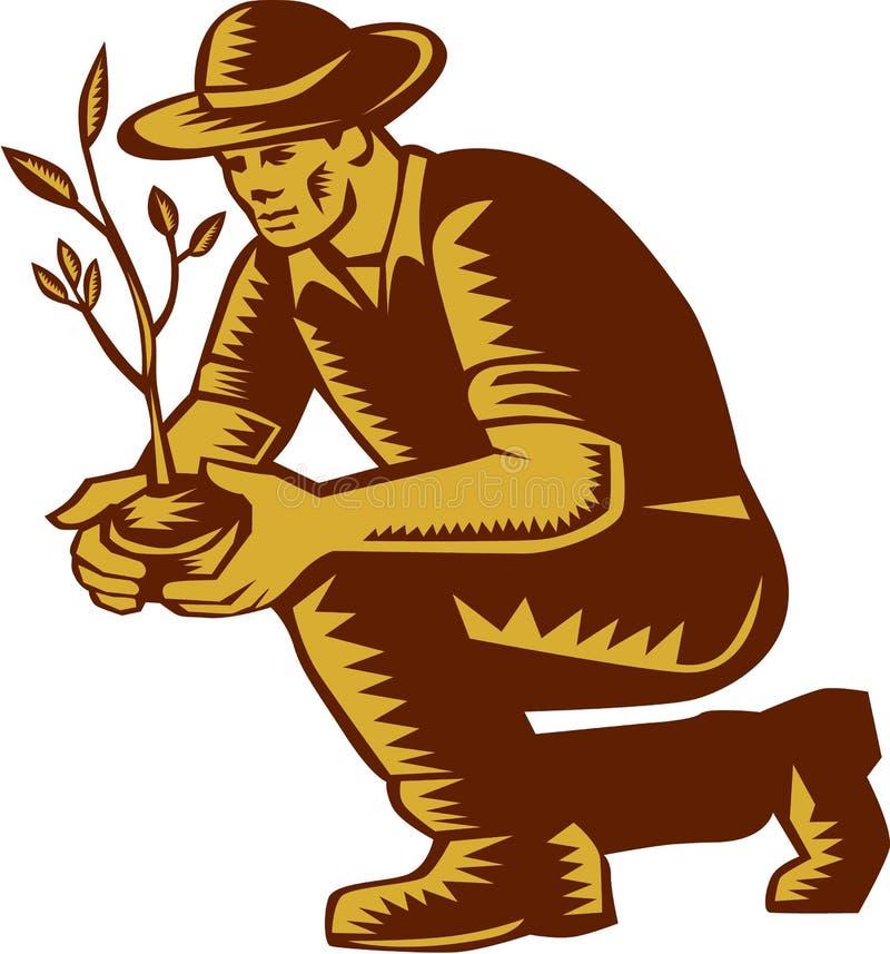 Granjero orgánico Planting Tree Woodcut Linocut stock de ilustración