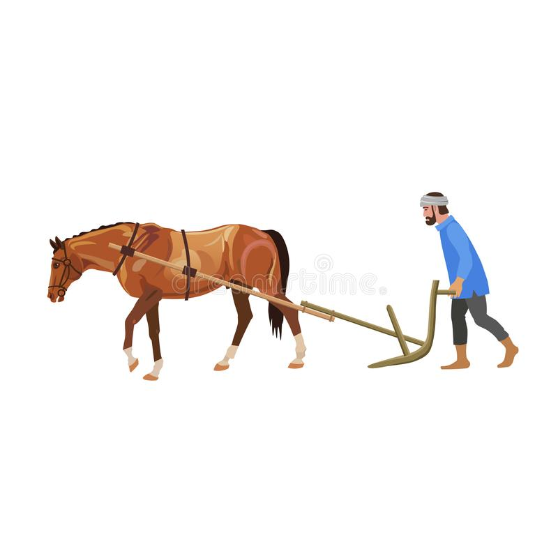 Granjero que ara el campo con el caballo stock de ilustración