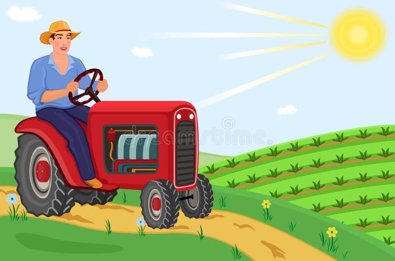 Granjero que conduce su alimentador en los campos stock de ilustración
