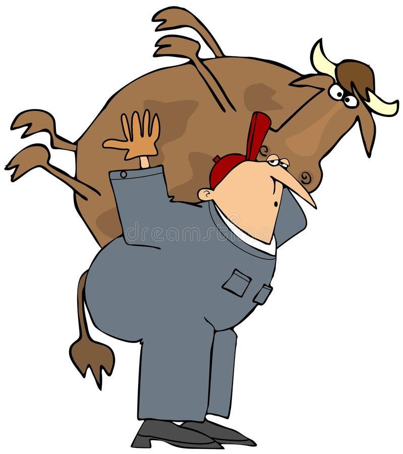 Granjero que lleva una vaca en el suyo detrás stock de ilustración