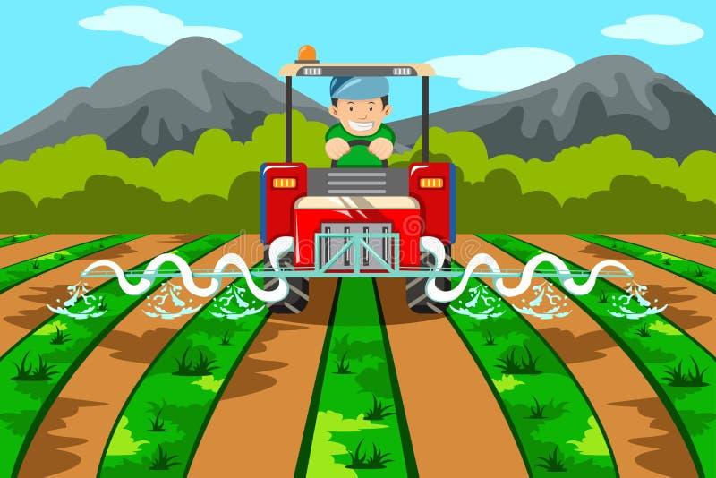 Granjero que riega la granja con el tractor stock de ilustración