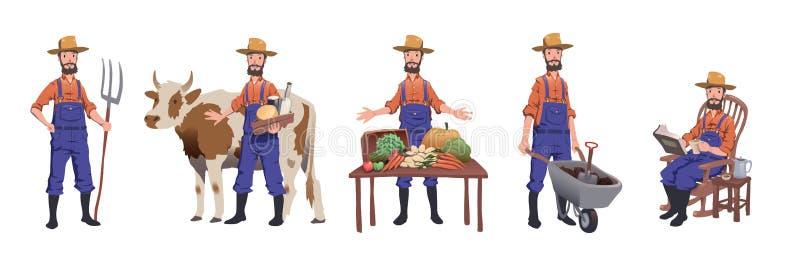 Granjero que trabaja en la granja, cuidando para la vaca, vendiendo los productos agrícolas y la reclinación Juego de caracteres, ilustración del vector