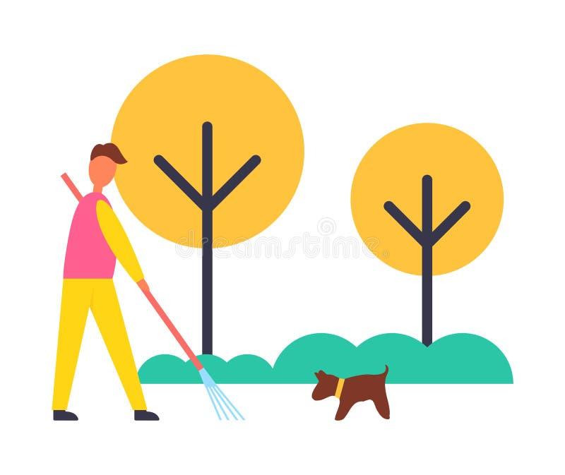 Granjero Working Autumn Garden Vector Illustration libre illustration