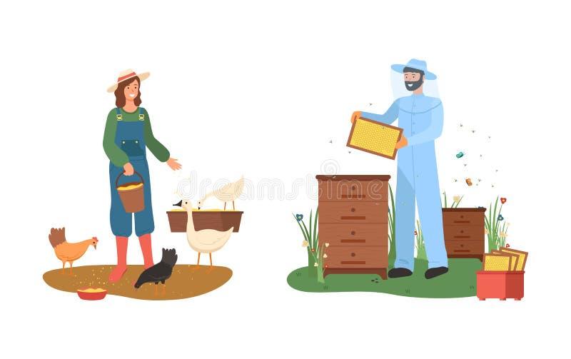 Granjero y apicultor Country Farmland, vector de la granja libre illustration