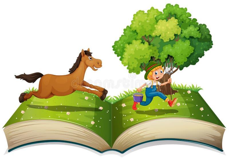 Granjero y caballo ilustración del vector
