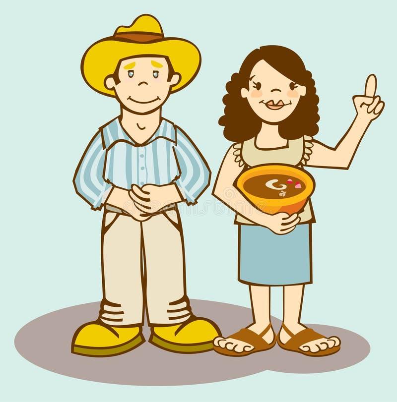 Granjero y esposa ilustración del vector