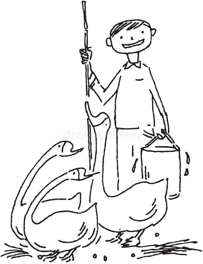 Granjero y patos ilustración del vector