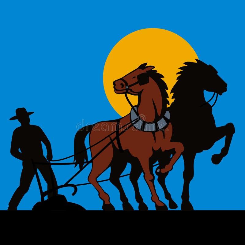 Granjero y sus caballos stock de ilustración