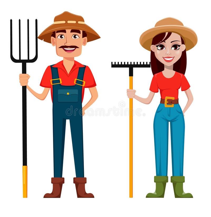 Granjeros, hombre y mujer, personajes de dibujos animados libre illustration