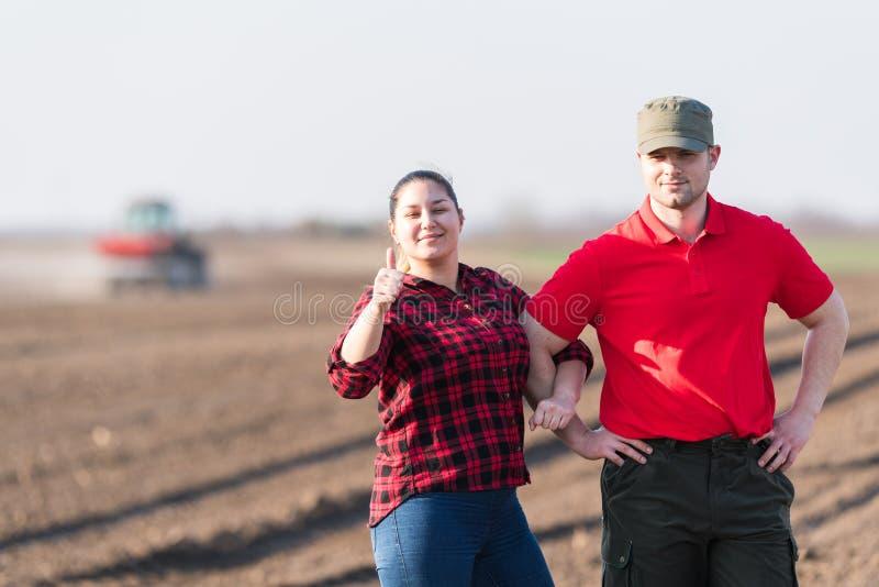 Granjeros jovenes examing campos de trigo plantados foto de archivo libre de regalías