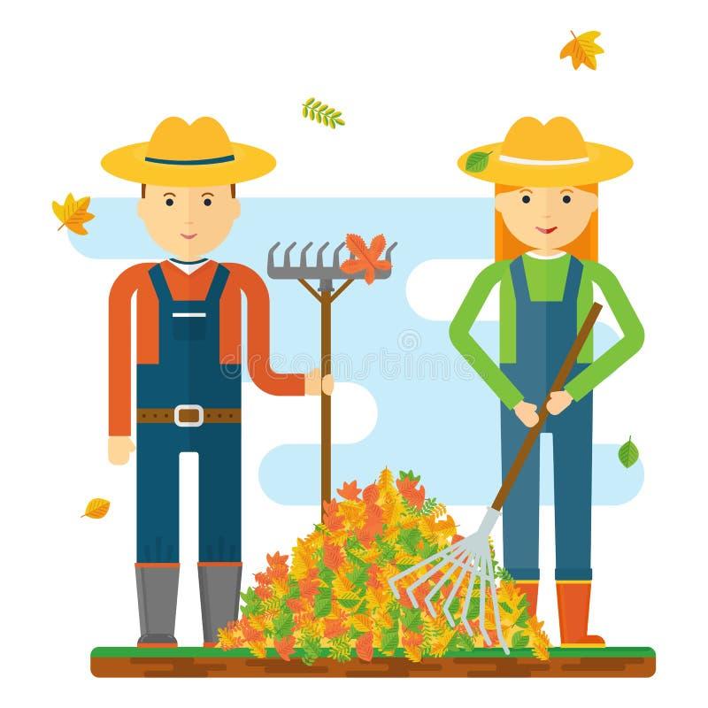 Granjeros que rastrillan las hojas libre illustration