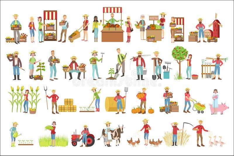 Granjeros y su sistema de productos ilustración del vector