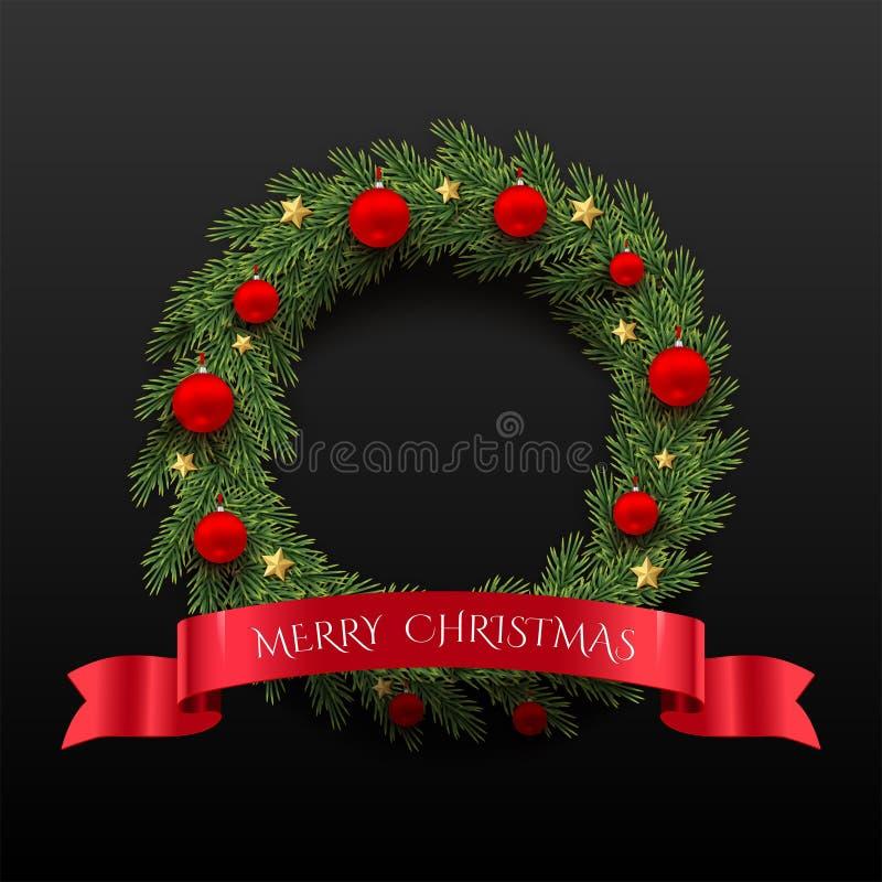 Grankrans med röda julbollar, guld- stjärnor och det röda bandet med text för glad jul som isoleras på svart bakgrund stock illustrationer