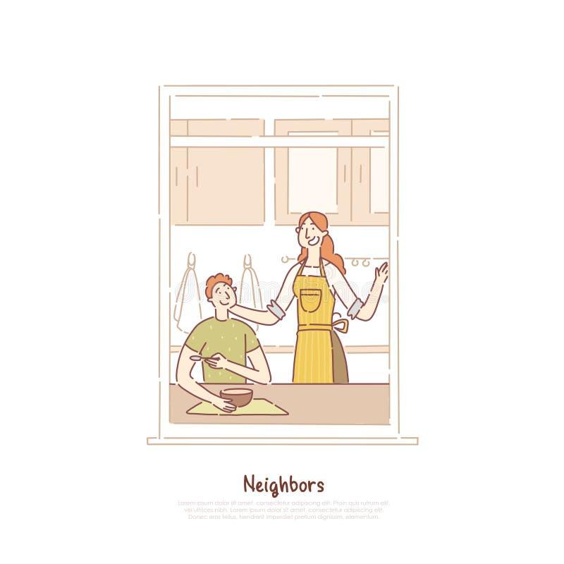 Grannar i fönsterram, par som har frukosten, man och kvinna som talar i kök, mamma som lagar mat målbanret vektor illustrationer