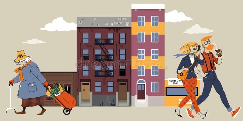 Grannskapgentrification stock illustrationer