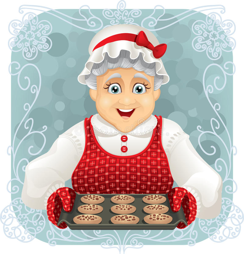 Granny Baked Some Cookies. Vector illustration of a happy granny holding a freshly baked cookies tray. File type: EPS AI8 compatible royalty free illustration