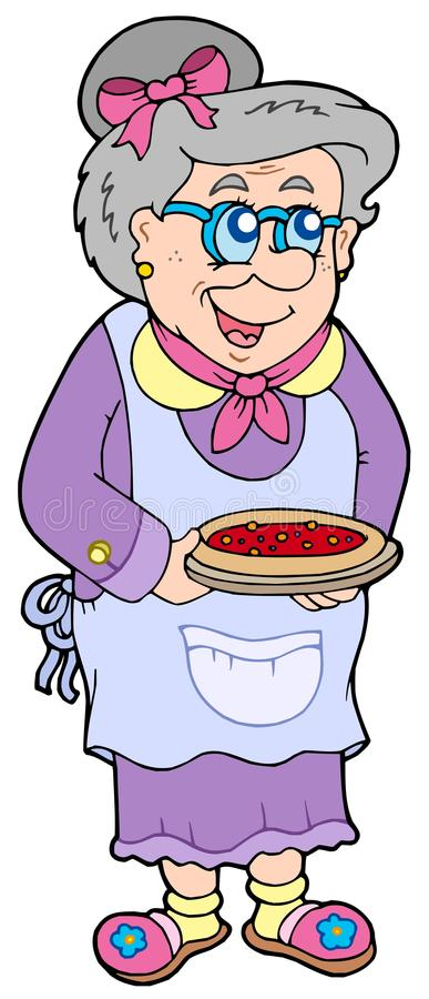 Granny with cake vector illustration