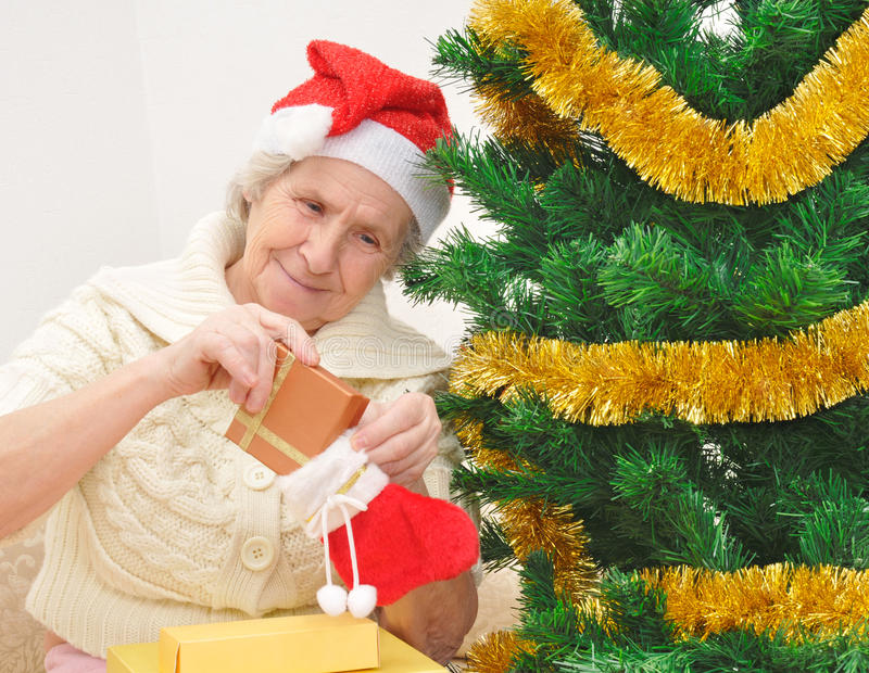 Download Granny With Christmas Stocking Royalty Free Stock Photos - Image: 17437818