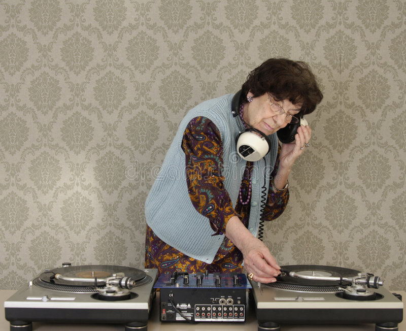 Granny dj royalty free stock images