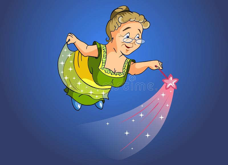 Granny fairy. Cartoon illustration. Granny fairy with a magic wand vector illustration