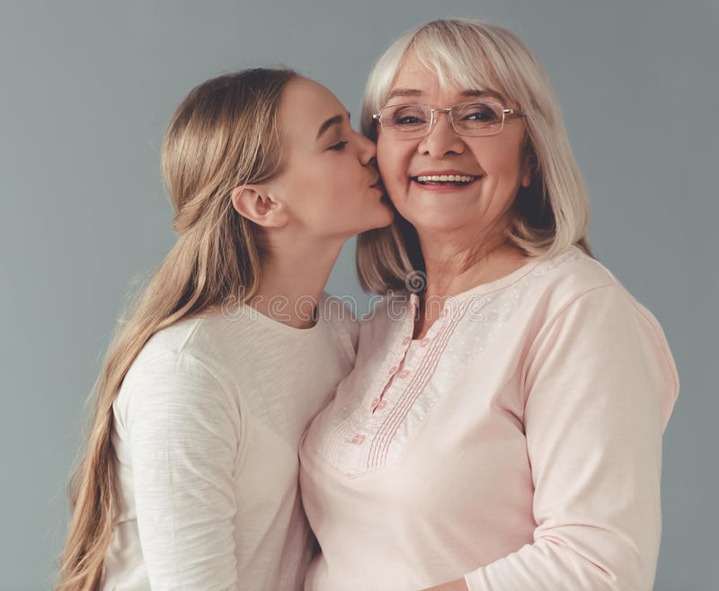 Granny and granddaughter royalty free stock image
