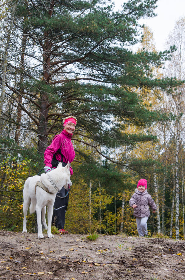 Granny with her granddaughter and a dog walk in Park royalty free stock photos