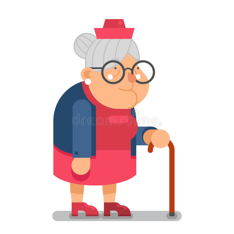 Cartoon Character Design Vector : Granny old lady character cartoon flat design vector