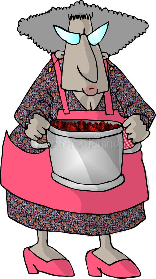 Granny and a pot of berries stock photography