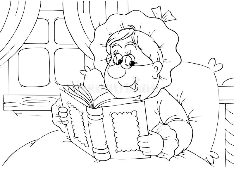 Granny reads a book vector illustration