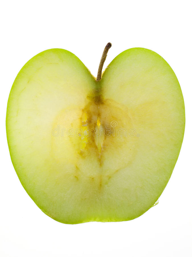 Granny Smith Apple With Stem Royalty Free Stock Photos