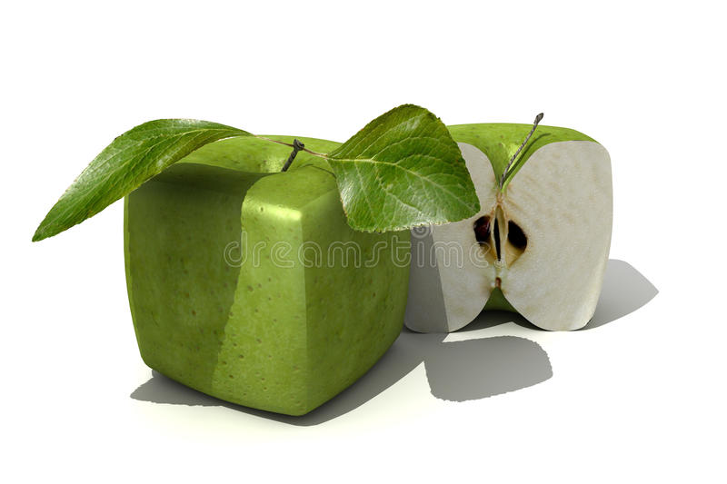 Granny-Smith cubic apple and a half. 3D rendering of a cubic apple fruit and a half stock illustration