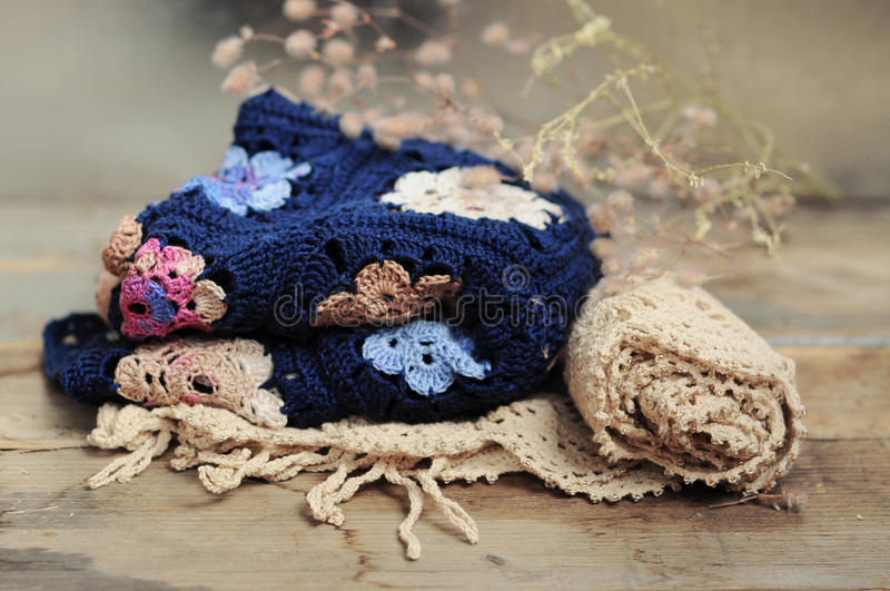 Granny square flower blanket stock image
