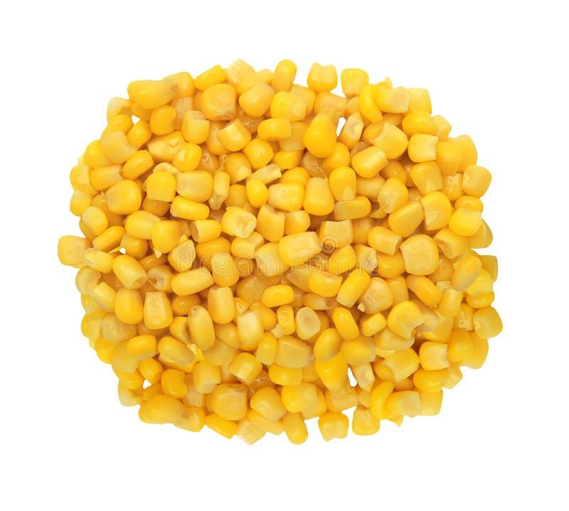 Grano amarillo dulce del maíz aislado en blanco fotos de archivo