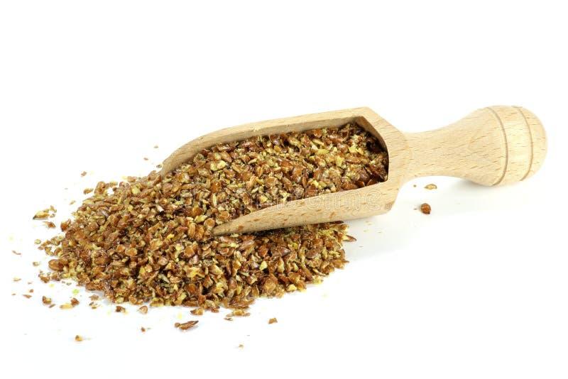 Grano da macinare del seme di lino fotografia stock