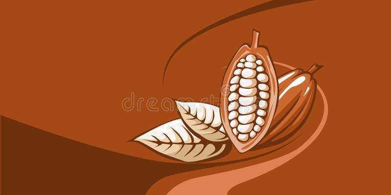 Grano de cacao con el fondo del chocolate libre illustration