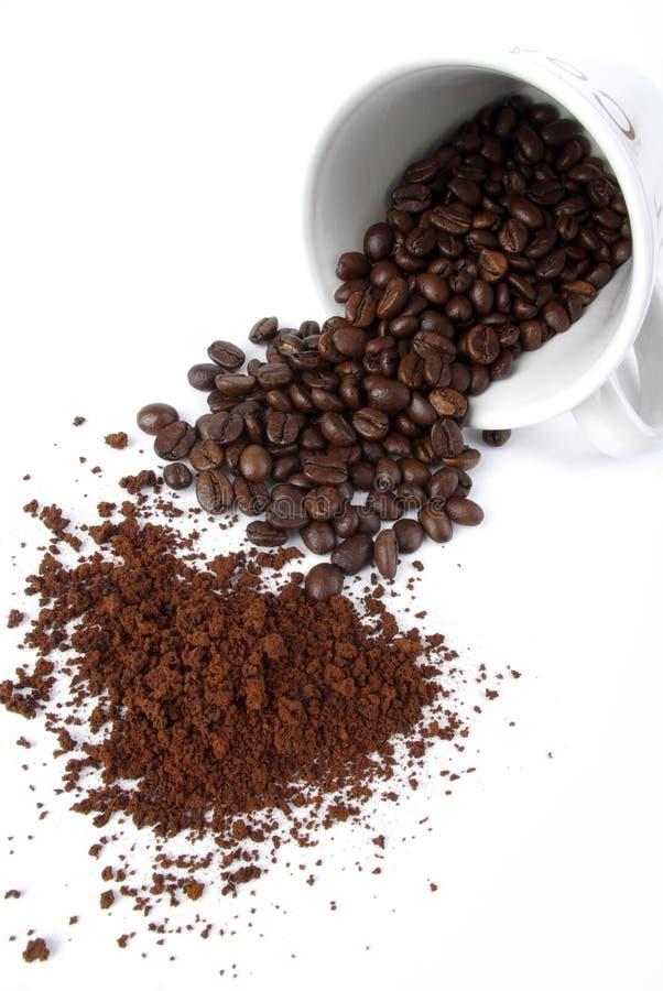 Grano de café con la taza de café fotos de archivo