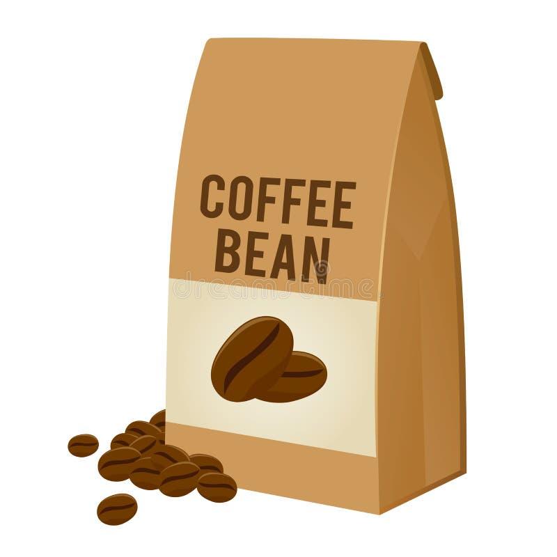 Grano de café en el empaquetado de la bolsa de papel de Brown stock de ilustración
