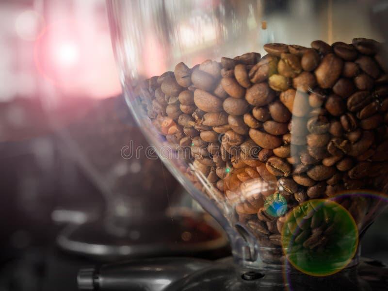 Grano de café en la máquina del café fotografía de archivo libre de regalías
