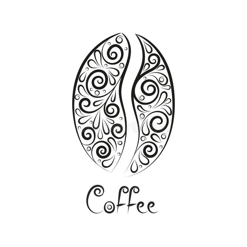 Grano de café estilizado ornamental negro ilustración del vector