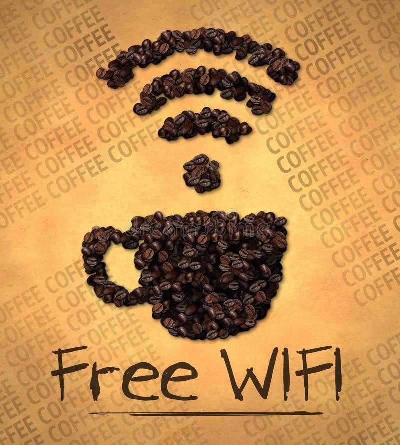 Grano de café libre del icono de la taza de WiFi en el papel viejo libre illustration