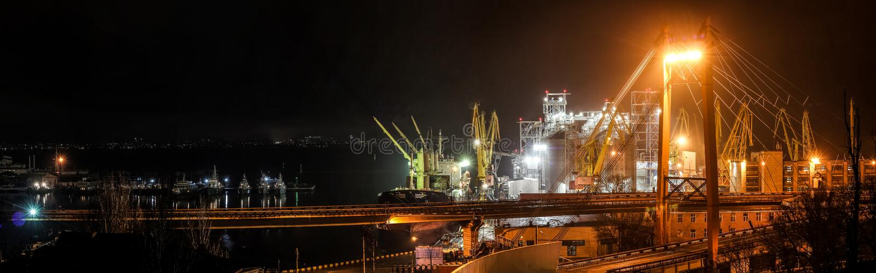 Grano di carico nel porto Vista panoramica di notte immagini stock