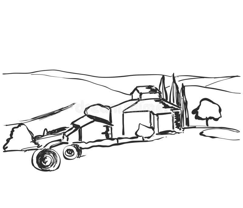 Grano rurale del campo del paesaggio nello stile grafico Schizzo del raccolto royalty illustrazione gratis