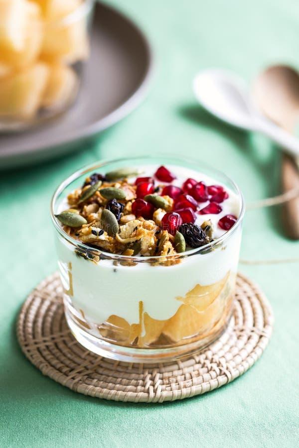 Granola με το ελληνικά yougurt και το πεπόνι στοκ φωτογραφία με δικαίωμα ελεύθερης χρήσης