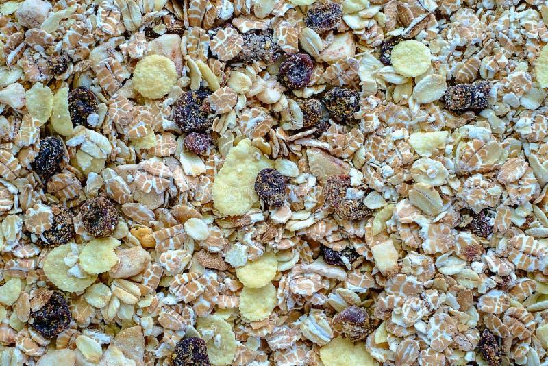Granola или muesli - смесь хлопьев, сухофрукта, и гаек стоковая фотография rf