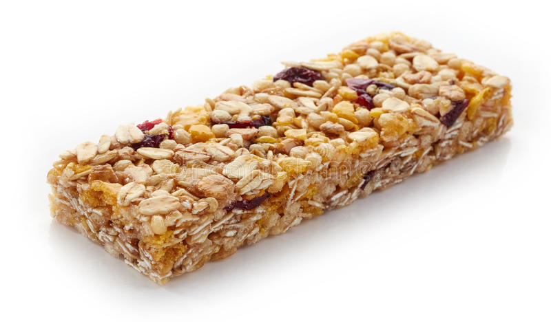 Granola bar. With berries isolated on white background royalty free stock photography
