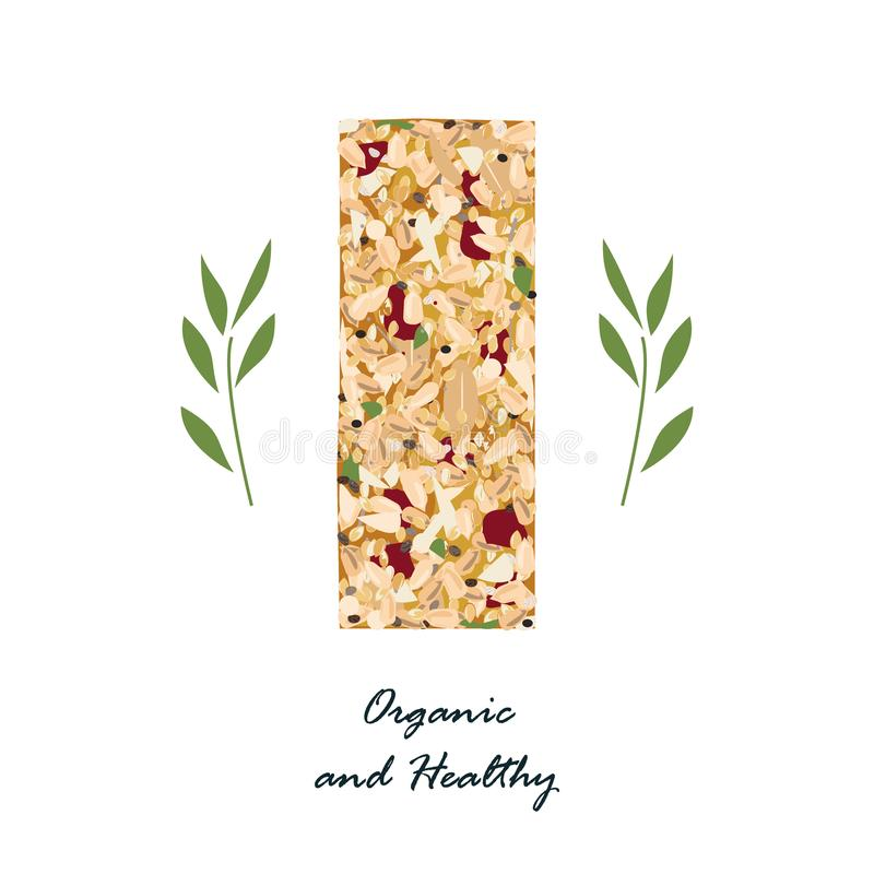 Granola bar with flax, sezame, and sunflower seeds and with dried fruits isolated on white. Energy bar vector, organic. Granola bar isolated on white. Healthy stock illustration