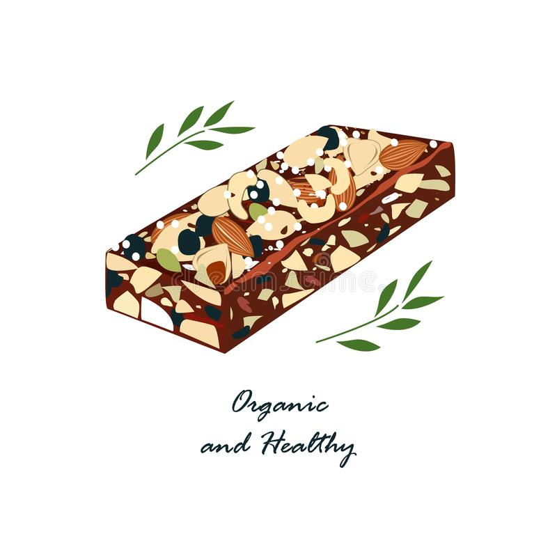 Granola bar with nats and dried fruits isolated on white . Energy bars vector, organic and healthy food emblem. Vector. Illustration royalty free illustration