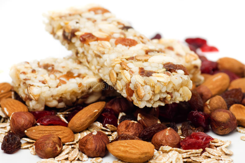 Download Granola Bar On White Background Stock Photo - Image of almond, snack: 15351706