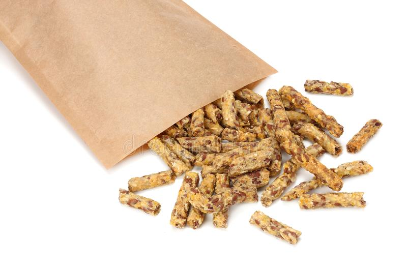 Granola breakfast in kraft paper bag isolated on white background. muesli. healthy food. fitness food royalty free stock photography